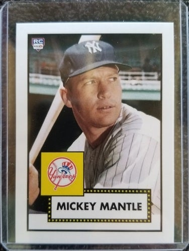 Genuine Aceo Mickey Mantle 7 1952 Topps Style Card Mint