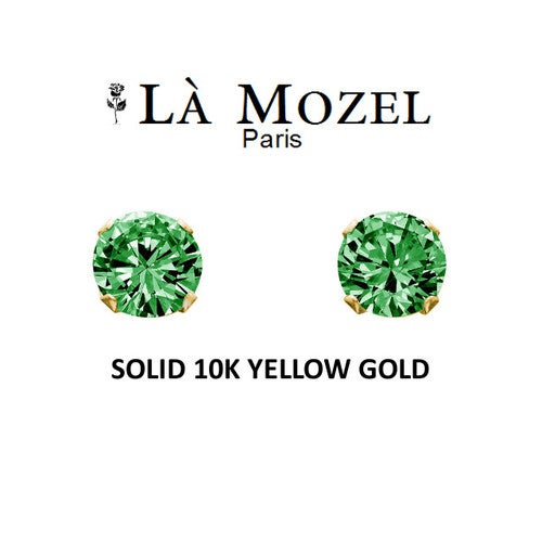 Luxury Solid 10K Yellow Gold Classic Elegant HandCrafted Round Cut Stud Earrings Featuring Green Stone - 3MM
