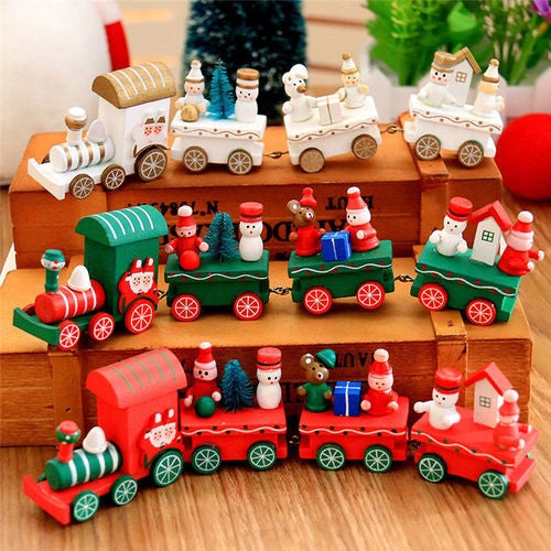 Xmas Wooden Christmas Train Santa Claus Festival Ornament Home Decor Kids Gifts
