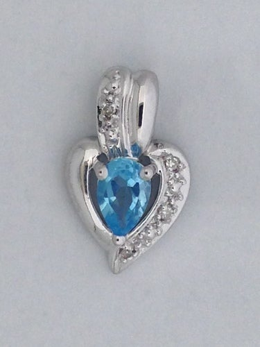 Natural Blue Topaz with Natural Diamond Pendant 925 Sterling Silver