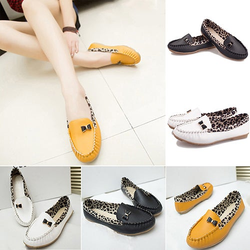 Fashion Women Faux Leather Flat Leopard Moccasin Bow Casual Slip-on Loafer Shoes
