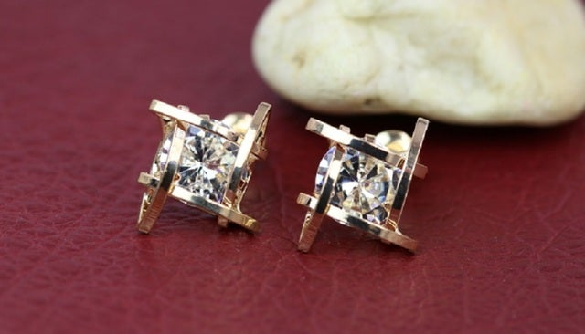 Modern style earrings. Nice quality and super cool look. Yellow gold or White gold plated.  Eye catching trendy earrings.