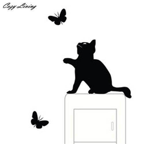 Cute Cat and Butterfly Wall Stickers - Home Decor