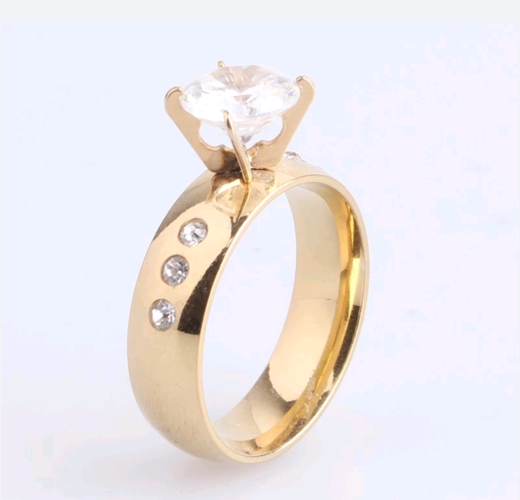 6mm stainless steel YGP or WGP 6 rhinestone classic style wedding engagement ring.