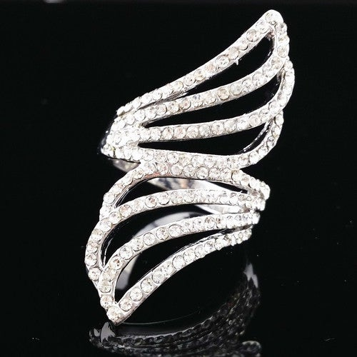 Angle Wing White Gold Long Finger Ring #565