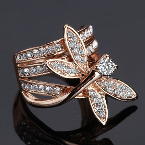 Dragonfly Ring White Gold/ Rose Gold AAA CZ Women Ring Luxury Look