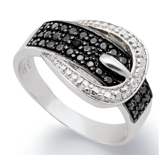 Gorgeous Black and white Stone Belt Ring #929