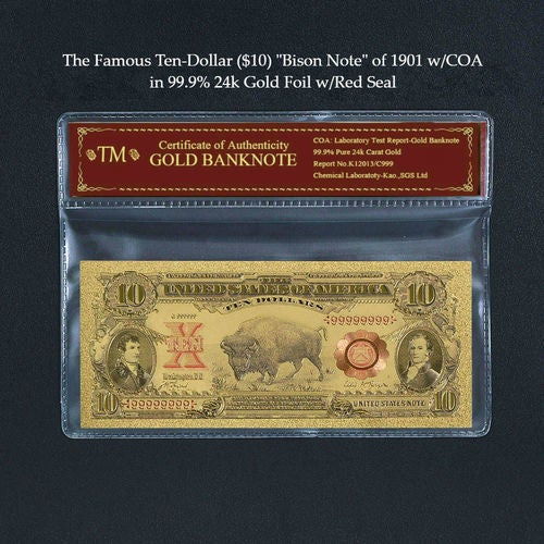 """99.9% 24k Gold Foil Polymer Collectors 1901 US $10 """"Bison Note"""" with Certificate of Authenticity"""