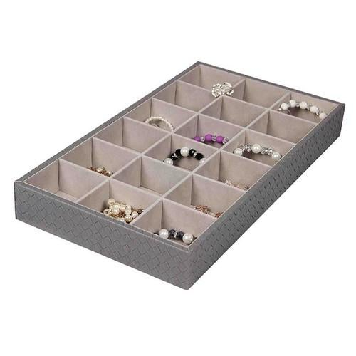 Home Basics DR49345 18 Compartment Jewelry Organizer, Faux Leather