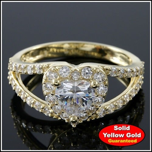 Solid 10k Yellow Gold 1.35ctw Engagement Ring #GlamGold4225