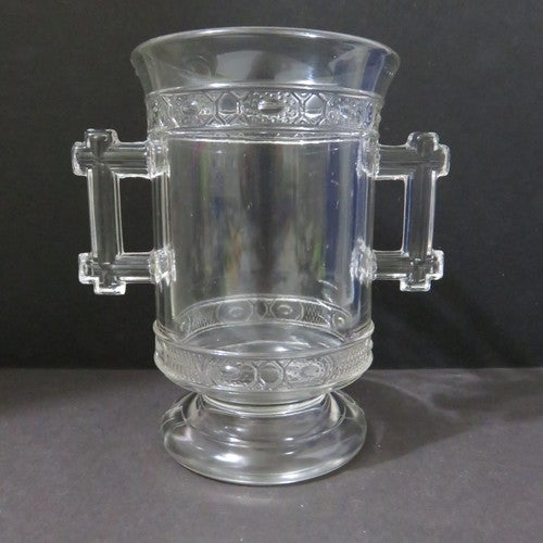 Antique Eapg Patterned Glass Pedestal Celery Vase Or Tophatter