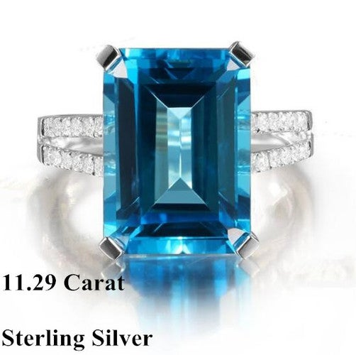 Luxurious 11.29 Carat Sea Blue Italian Crystal Wedding Engagement Ring In Sterling Silver
