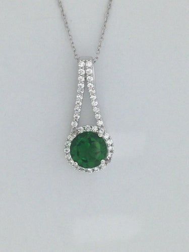 Created Green Stone with Natural White Topaz Pendant 925 Sterling Silver