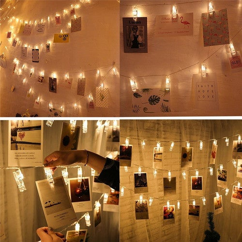 1M LED Card Photo Clip String Lights Colorful Crystal Festival Party Wedding Fairy Lamp Home Decoration Night Lights