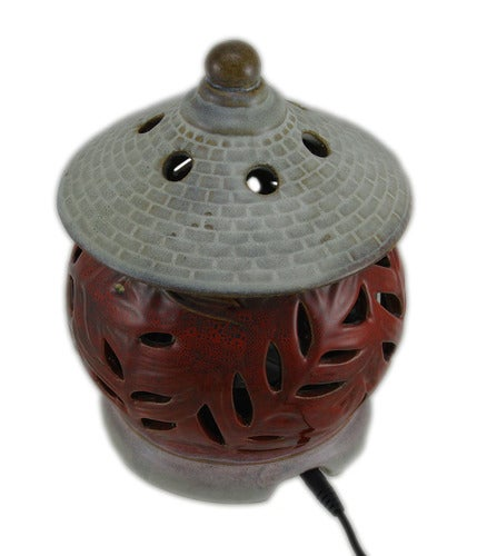 Zeckos - Set of 2 Leaf Pagoda Outdoor Rechargeable LED Fragrance Warmers