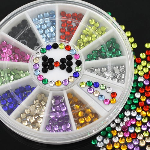 12 Colors Glitters 3mm Acrylic Nail Decoration Stickers DIY Nail Tips Wheel