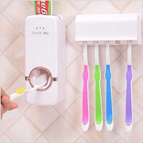 Home Auto Automatic Toothpaste Dispenser + 5 Toothbrush Holder Set Wall Mount Stand