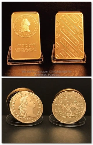 Tribute .999 Gold Clad 1794 Flowing Hair Dollar Coin *** COMMEMORATE 1st AMERICAN SILVER DOLLAR***