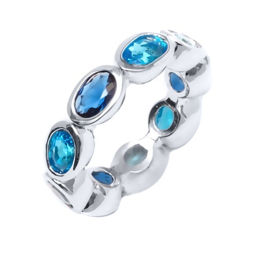 White Gold Filled Aqua and Sapphire Cubic Zirconia Oval-Cut Ring