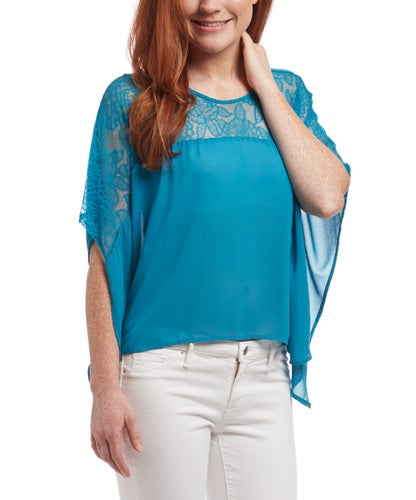 Your Choice Rose design lace poncho top