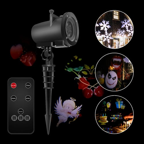 12W Remote Control LED Projector Light White Lawn Light Landscape Light with 20pcs Colorful Gobo Slides & Tripod & Base & Spike Support Timer/Speed/Flash Control for Xmas Birthday New Year Halloween Thanksgiving Party Holiday AU/EU/UK/US Plug