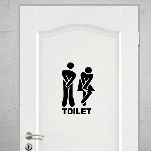 Removable Bathroom Toilet Entrance Sign Wall Stickers Public Lavatory Decals Art Stickers