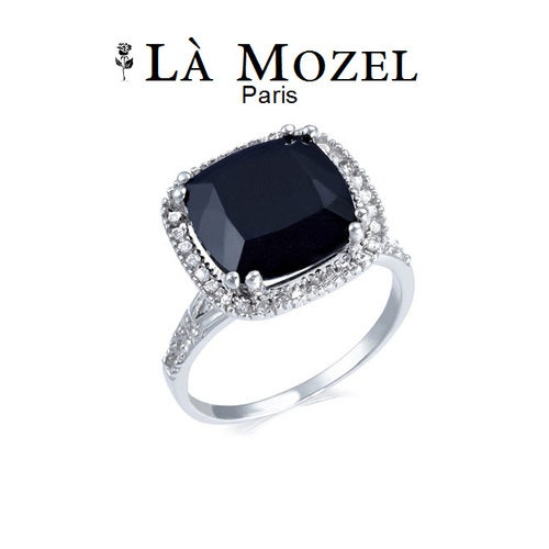 HandCrafted 18KT White Gold Over Brass, 7 Carat Black Gemstone Cushion-Cut Ring