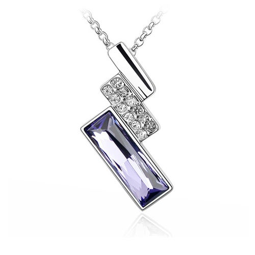 18kt White Gold Plated Rectangular Pendant Necklace
