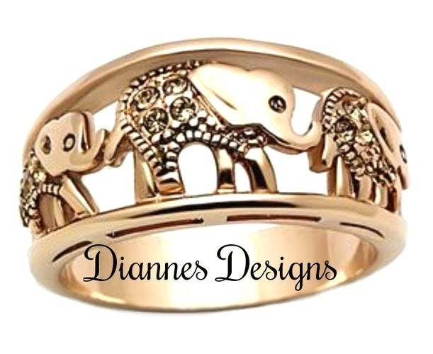 Elephant Ring Set in Stainless Steel in Rose Gold EP