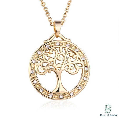 18K Gold Plated and Swarovski Elements Tree Of Life Pendant Necklace