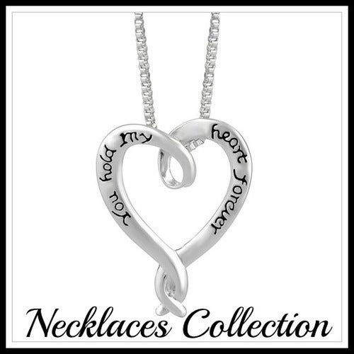 14k White Gold Filled, Heart Necklace Sm790