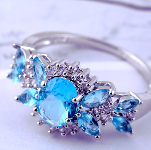 Stunning Blue & White Sapphire Sterling Silver 925 Ring