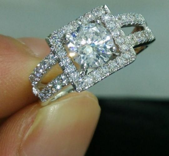 Jewelry A29 Womens White Gold Filled CZ Ring Set