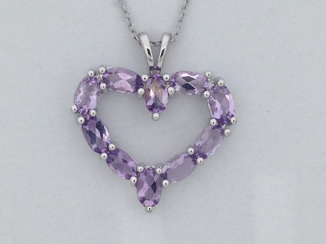 925 Sterling Silver Natural Amethyst Open Heart Necklace