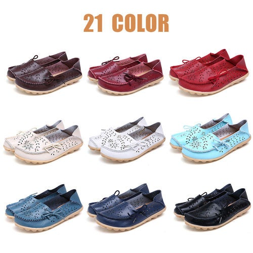 Women Lace Up Bowk-not Slip-on Hollow Boots Mocassins Slippers Loafer Shoes