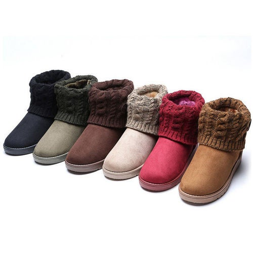 Womens Winter Warm Snow Ankle Flat Boots Fur Lined Wool Thicken Booties Size