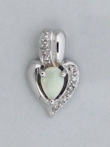 Natural Opal with Natural Diamond Pendant 925 Sterling Silver