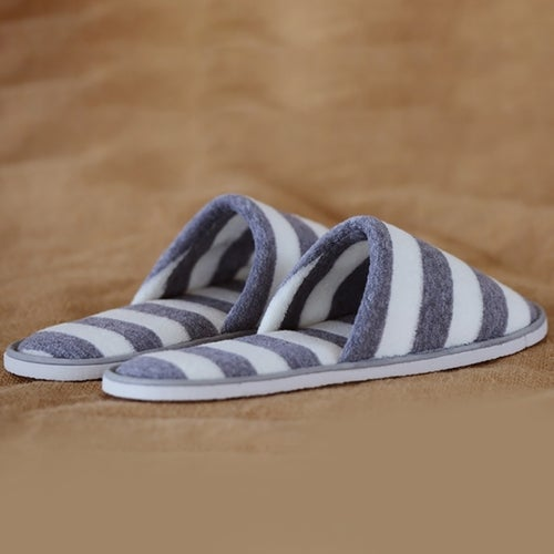 Home hospitality slippers double color striped slippers