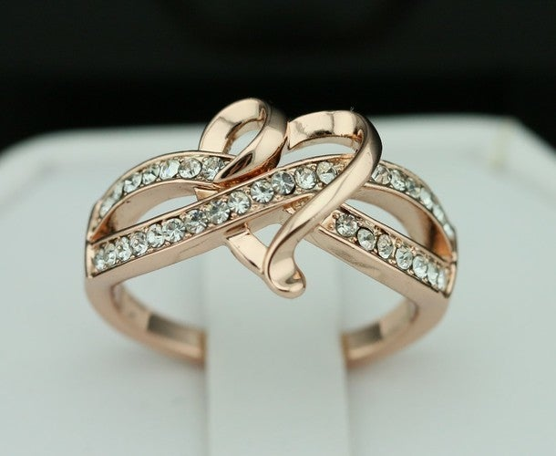 18K Rose Gold Plated Infinity Heart Women Ring Thanksgiving/Christmas Gift #867