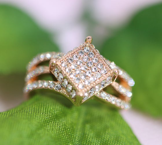 Rose Gold Square Women Statement Ring #522
