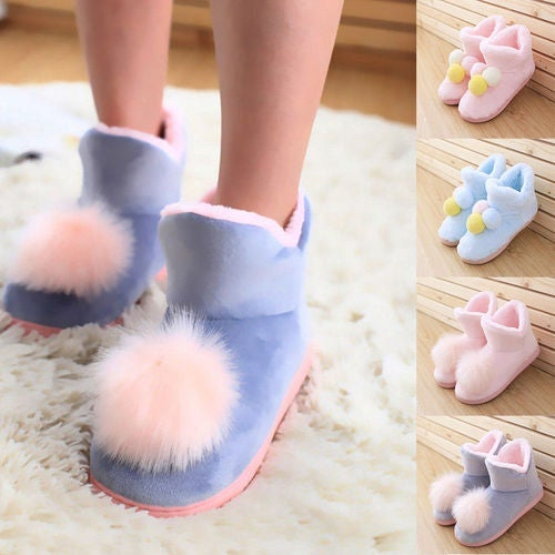 Women Ladies Winter Warm Pom Pom Cotton Indoor Ankle Boots Slip On Shoes Home