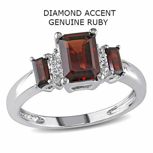Diamond Accent Genuine Red Ruby 3 Stone Ring