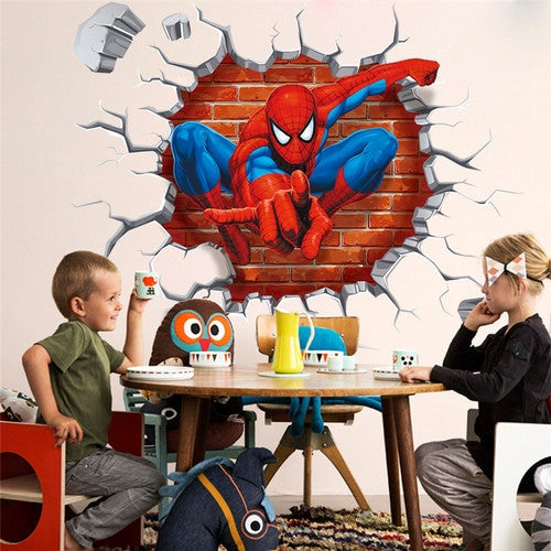 Brand New 2017 3D Spiderman Wall Stckers Cartoon Sticker home decal adesivo de parede for kids room decor child gifts wallpaper