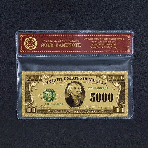 Limited 99.9% 24k Gold Foil Polymer Collectors US $5,000 with Certificate of Authenticity