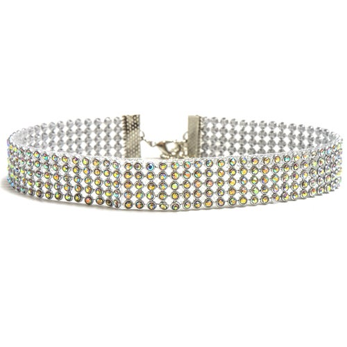 18K White Gold ptd 5-Row Choker Necklace wAustrian Crystal