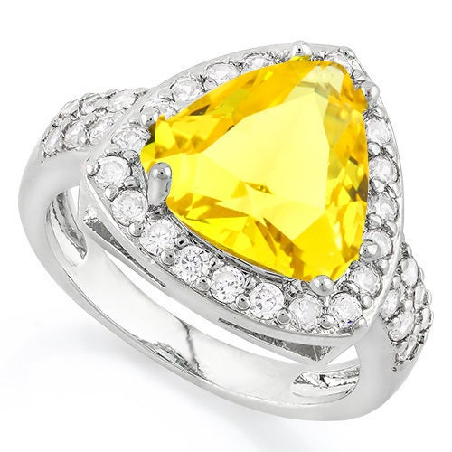 14k White Gold Filled, Beautifully Created Fine Citrine & White Sapphire Ring