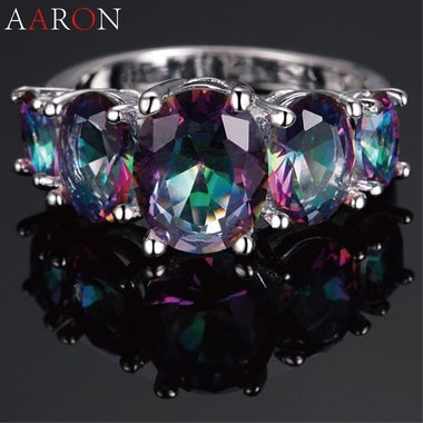 Hot Fashion Silver Plated Luxury Vintage AAA Colorful Zircon CZ Crystal Rings Fo