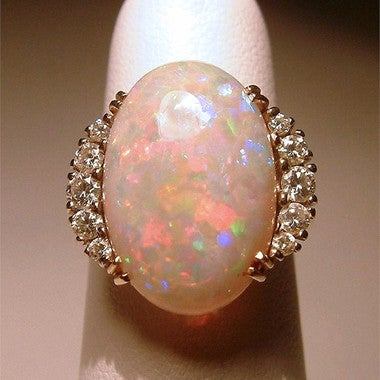 Large Nature Pink Fire Synthetic Opal Birthstone Ring Bride Wedding Fine Jewelry