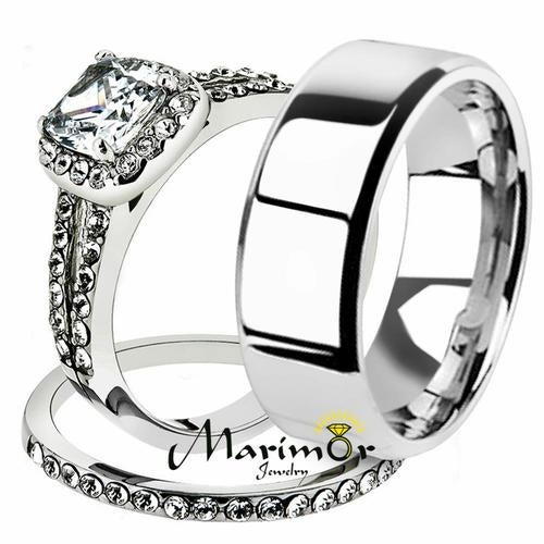 His & Her 3pc Stainless Steel 1.80 Ct Cz Bridal Ring Set & Men Beveled Edge Band