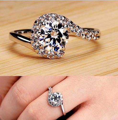 Fashion Women Sterling 925 Silver Jewelry Wedding Engagement Crystal Ring